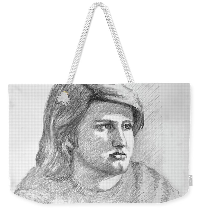 Realism Weekender Tote Bag featuring the drawing Portrait Of A Boy by Keith Burgess