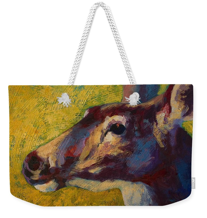Deer Weekender Tote Bag featuring the painting Portrait Of A Doe by Marion Rose
