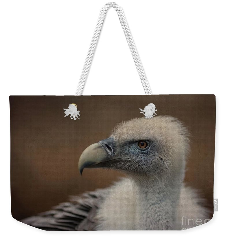 Griffon Vulture Weekender Tote Bag featuring the photograph Portrait Of A Griffon Vulture by Eva Lechner