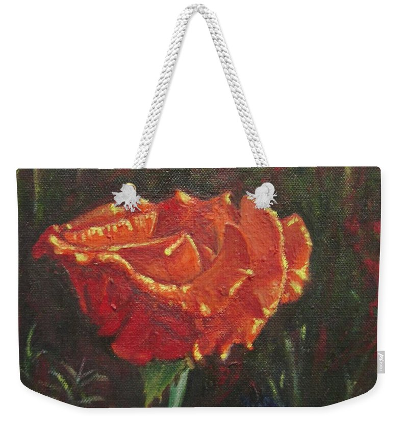 Portrait Weekender Tote Bag featuring the painting Portrait Of A Rose 8 by Usha Shantharam