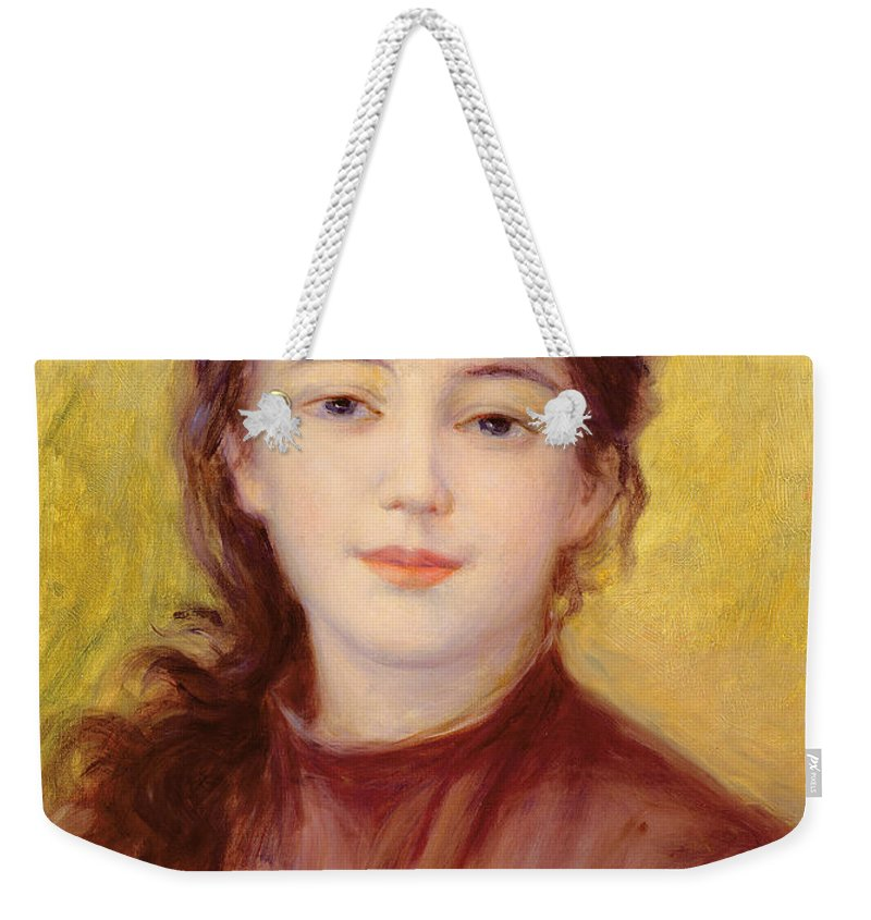 Portrait Weekender Tote Bag featuring the painting Portrait Of A Woman by Pierre Auguste Renoir