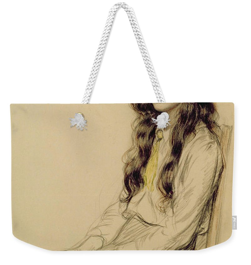 Portrait Weekender Tote Bag featuring the drawing Portrait Of A Young Girl by Frederick Pegram