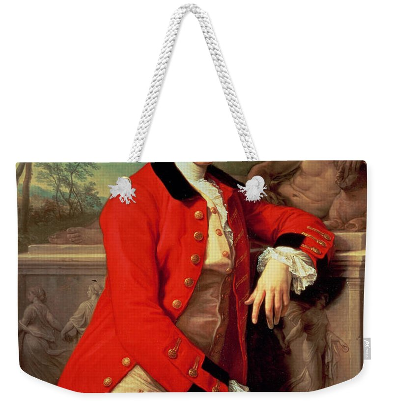 Portrait Weekender Tote Bag featuring the painting Portrait Of Edmund Rolfe by Pompeo Girolamo Batoni