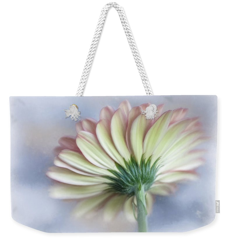Bloom Weekender Tote Bag featuring the photograph Portrait Of Gerbera Daisy by David and Carol Kelly