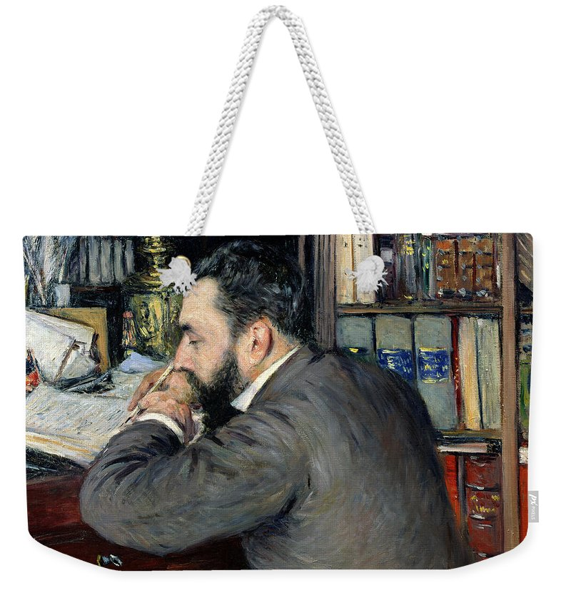 Gustave Caillebotte Weekender Tote Bag featuring the painting Portrait Of Henri Cordier by Gustave Caillebotte