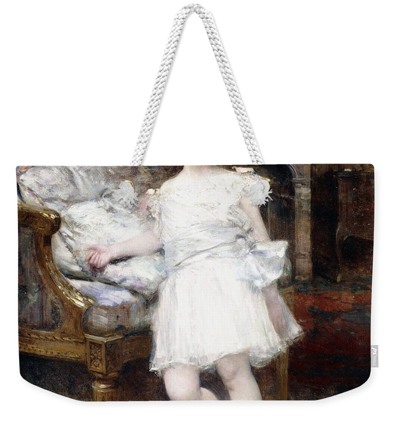 Cat Weekender Tote Bag featuring the painting Portrait Of Janine Potin With A Kitten by Aime Nicolas Morot