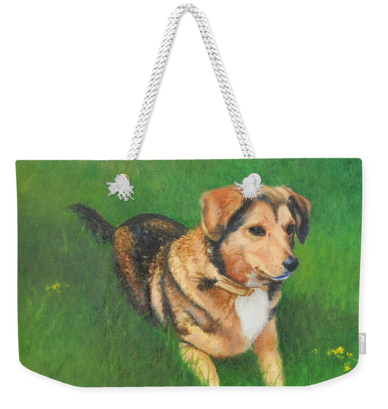 Dog Weekender Tote Bag featuring the painting Portrait Of Kecia by Phyllis Tarlow