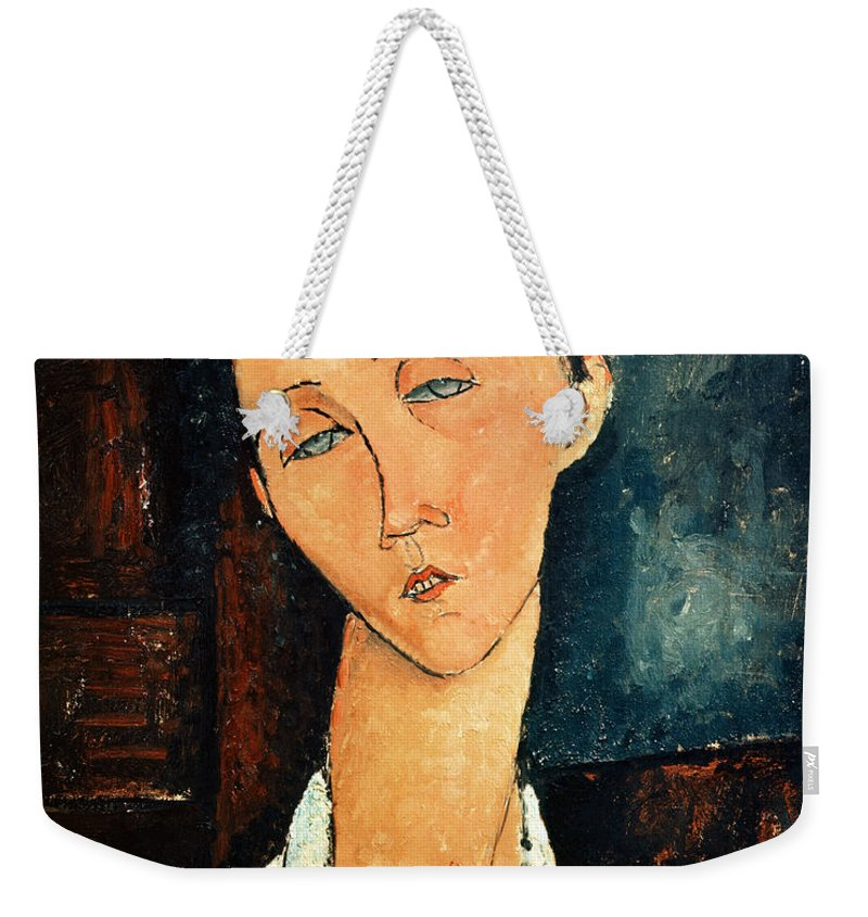 Portrait Weekender Tote Bag featuring the painting Portrait Of Lunia Czechowska by Amedeo Modigliani