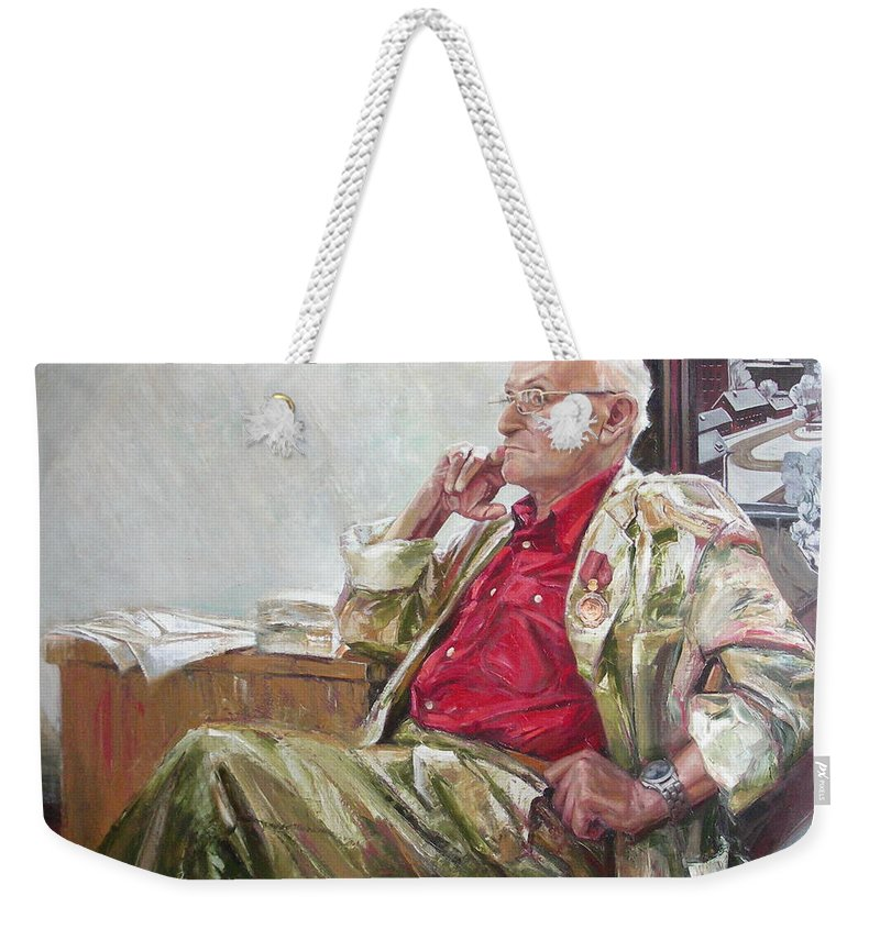 Oil Weekender Tote Bag featuring the painting Portrait Of May Dancig by Sergey Ignatenko