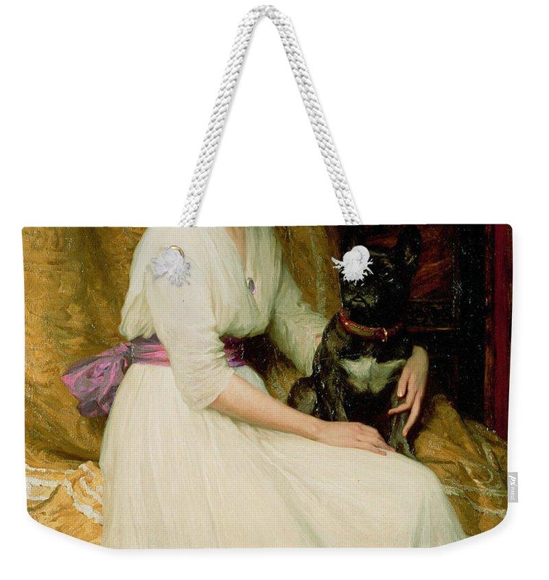 Portrait Weekender Tote Bag featuring the painting Portrait Of Miss Dorothy Dicksee by Sir Frank Dicksee