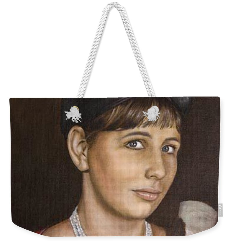 Portrait Weekender Tote Bag featuring the painting Portrait Of My Mother Early Sixties by Rob De Vries