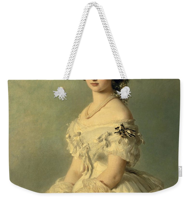 Portrait Weekender Tote Bag featuring the painting Portrait of Princess of Baden by Franz Xaver Winterhalter