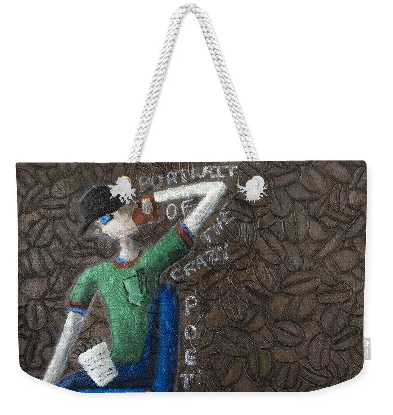 Portrait Weekender Tote Bag featuring the painting Portrait Of The Crazy Poet by Kelly Jade King