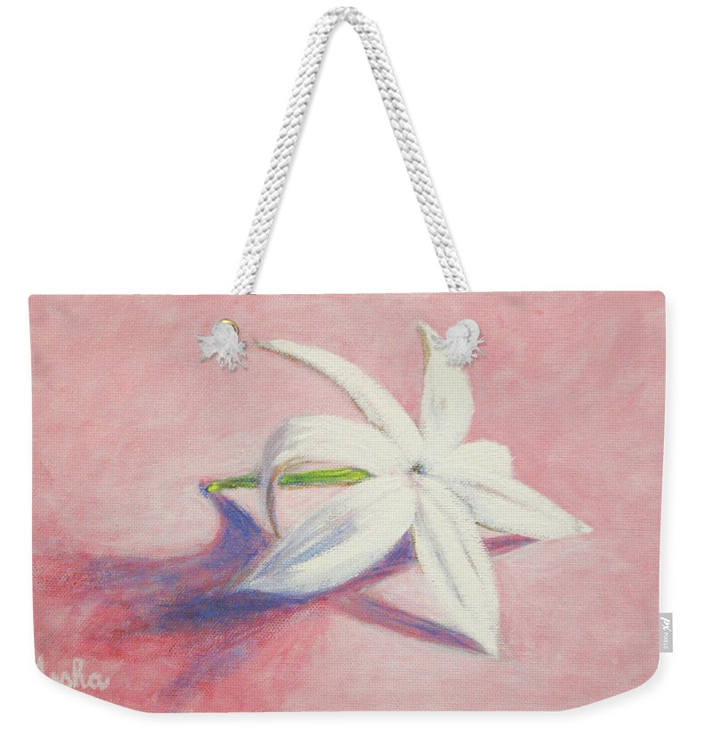 Portrait Weekender Tote Bag featuring the painting Portrait Of The Jasmine Flower by Usha Shantharam