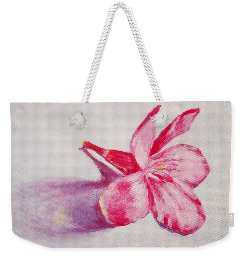 Genneri Weekender Tote Bag featuring the painting Portrait Of The Kaneri Flower. Oleander by Usha Shantharam