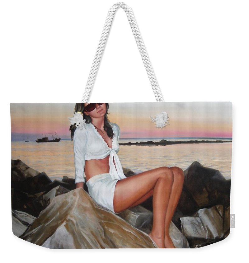 Art Weekender Tote Bag featuring the painting Portrait by Sergey Ignatenko