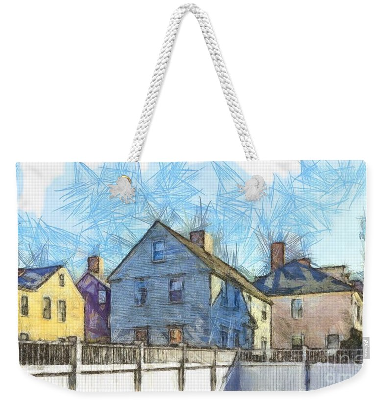 Portsmouth Weekender Tote Bag featuring the photograph Portsmouth New Hampshire Pencil by Edward Fielding
