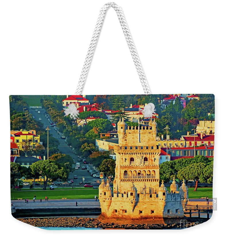 Belem Weekender Tote Bag featuring the photograph Lisbon Belem Tower From The River by Wilf Doyle