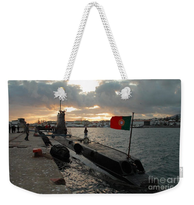 Harbor Weekender Tote Bag featuring the photograph Portuguese Navy Submarine by Gaspar Avila