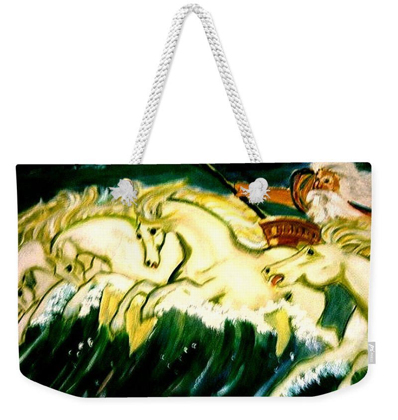 Mythical Weekender Tote Bag featuring the painting Poseidon by Rusty Gladdish