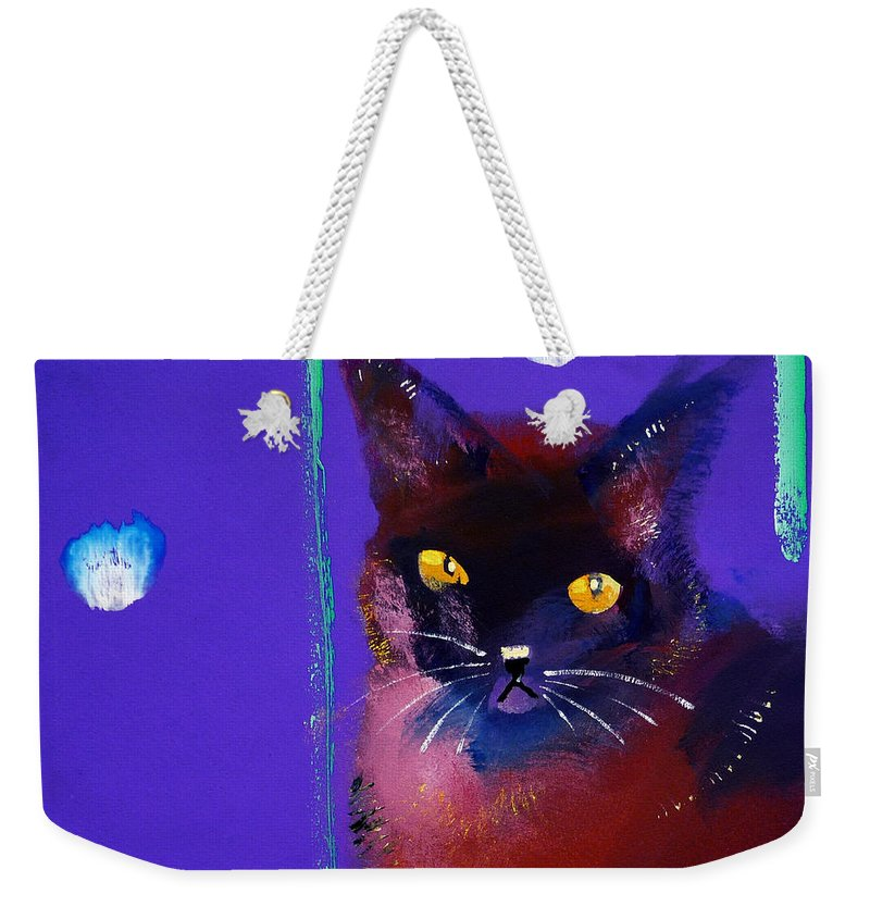 Cat Weekender Tote Bag featuring the painting Posh Tom Cat by Charles Stuart