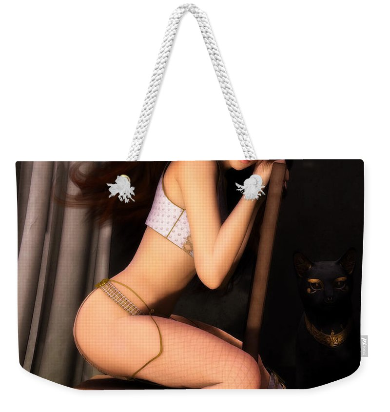 3d Weekender Tote Bag featuring the digital art Posing For Him by Jutta Maria Pusl