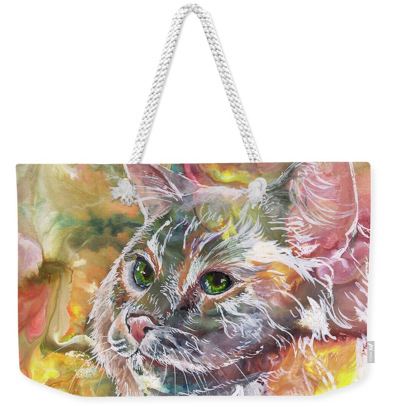 Cat Weekender Tote Bag featuring the painting Posing Pretty by Sherry Shipley