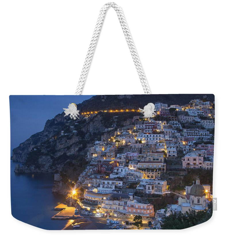 Amalfi Coast Weekender Tote Bag featuring the photograph Positano At Dawn by Brian Jannsen