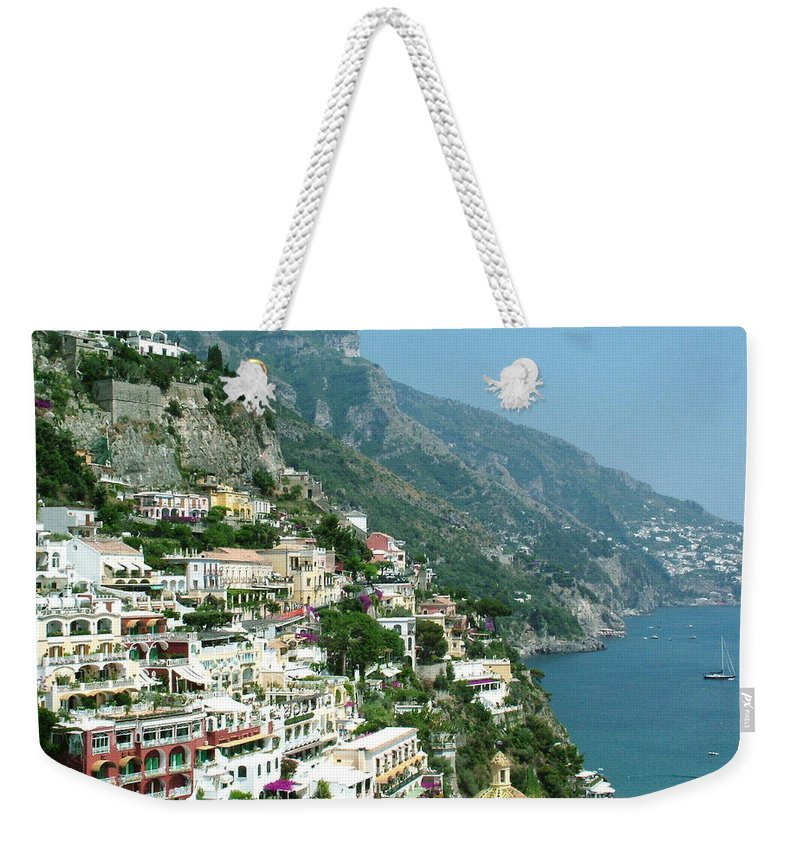Positano Weekender Tote Bag featuring the photograph Positano In The Afternoon by Donna Corless