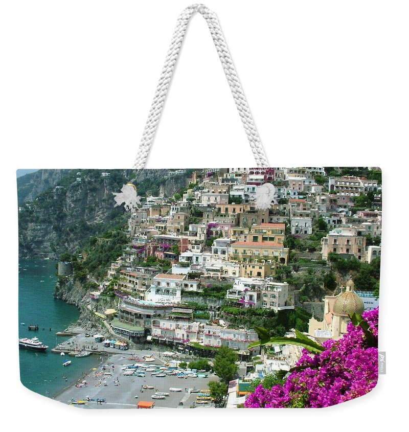 Positano Weekender Tote Bag featuring the photograph Positano's Beach by Donna Corless