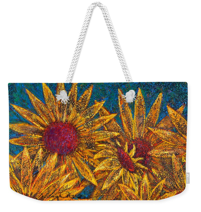 Flowers Weekender Tote Bag featuring the painting Positivity by Oscar Ortiz