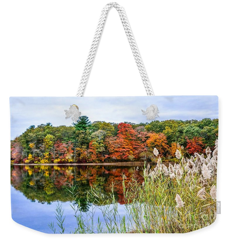 Landscape Weekender Tote Bag featuring the photograph Posnegansett Pond 4 by Lisa Kilby