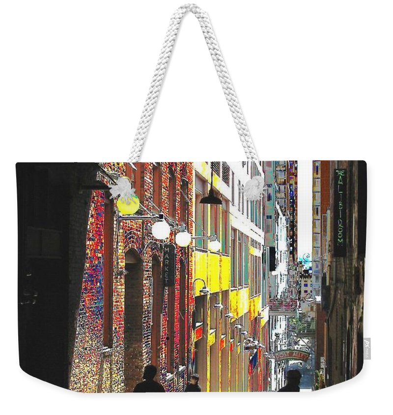Seattle Weekender Tote Bag featuring the digital art Post Alley by Tim Allen