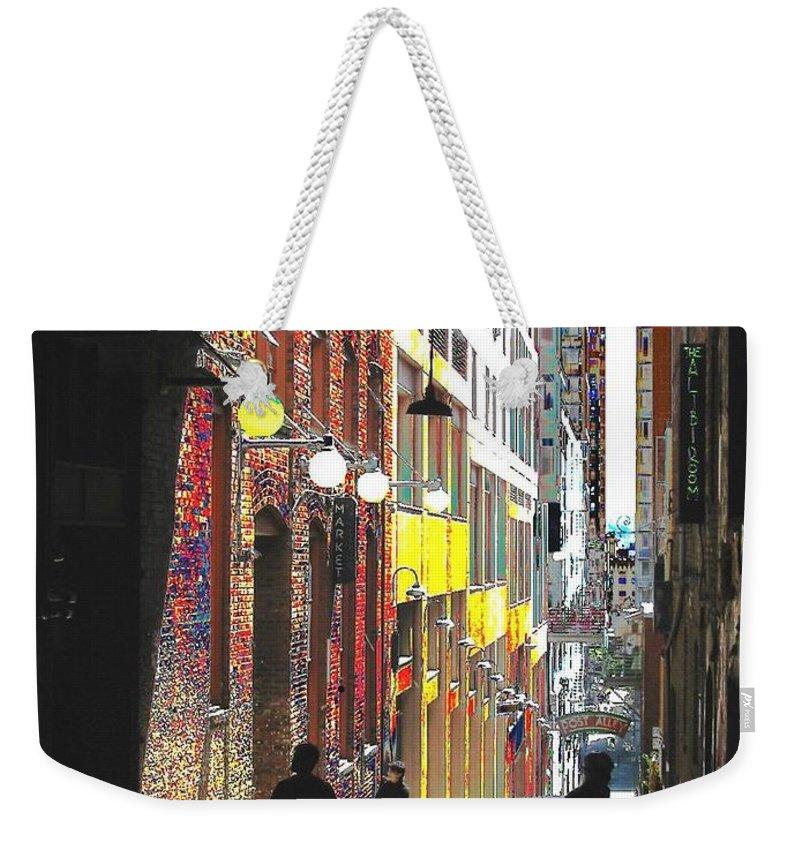 Seattle Weekender Tote Bag featuring the digital art Post Alley by Tim Allen