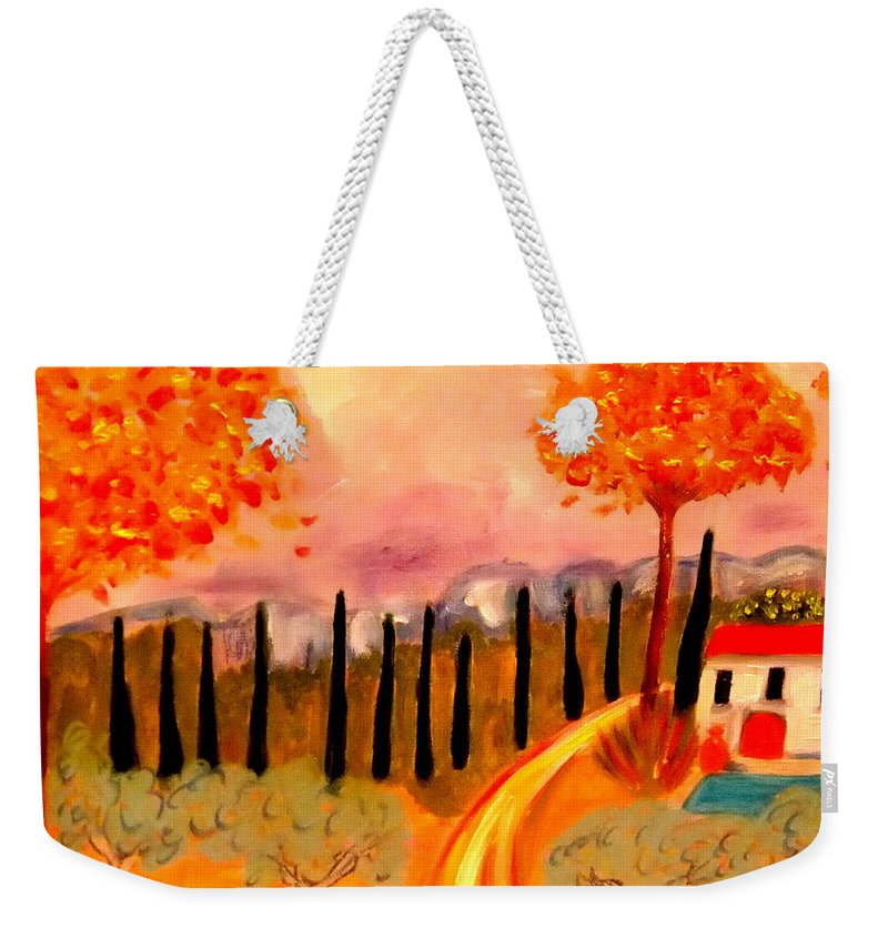 Provence Weekender Tote Bag featuring the painting Postale de Provence by Rusty Gladdish