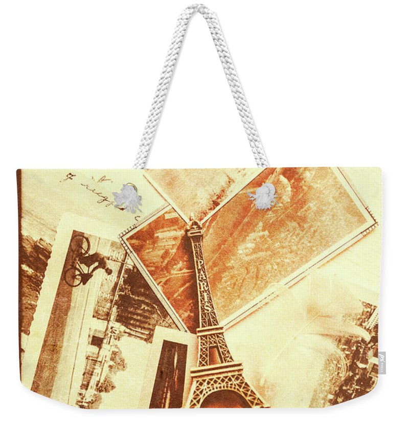 Paper Weekender Tote Bag featuring the photograph Postcards And Letters From The City Of Love by Jorgo Photography - Wall Art Gallery