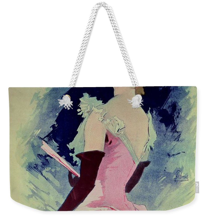 Glamour Weekender Tote Bag featuring the painting Poster Advertising Alcazar Dete Starring Kanjarowa by Jules Cheret