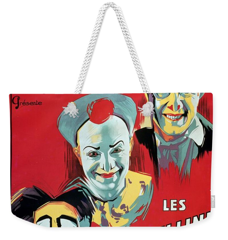 Poster Advertising The 'cirque D'hiver De Paris' Featuring The Fratellini Clowns Weekender Tote Bag featuring the painting Poster Advertising The Fratellini Clowns by French School
