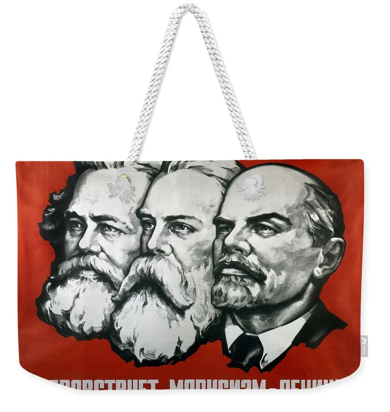 Poster Depicting Karl Marx Weekender Tote Bag featuring the painting Poster Depicting Karl Marx Friedrich Engels And Lenin by Unknown