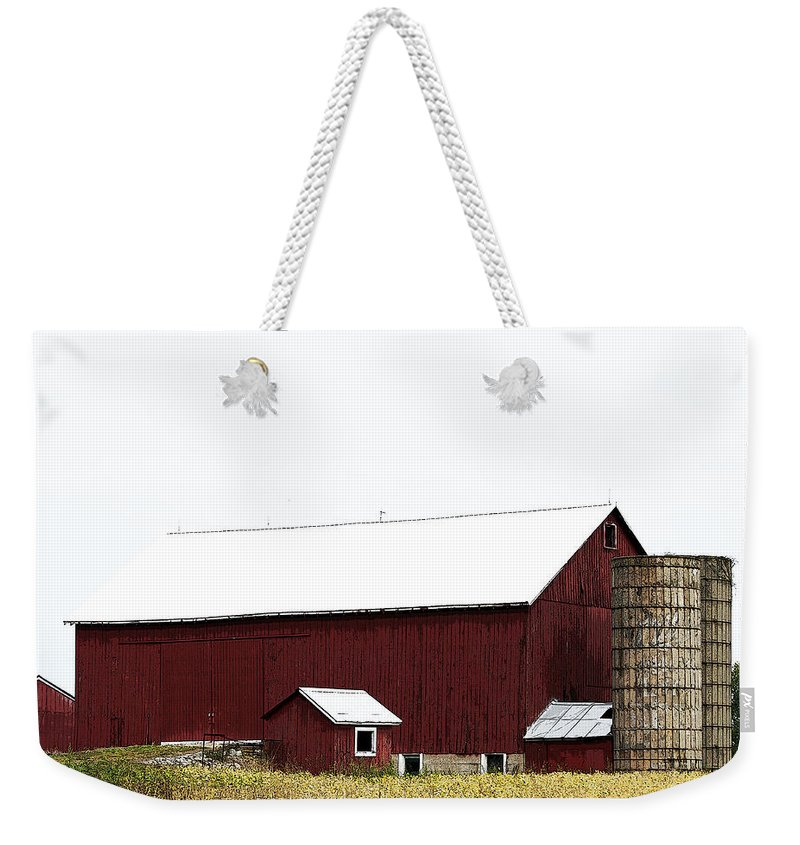 Digitally Weekender Tote Bag featuring the photograph Poster Look American Red Barn With Silos I Niles Michigan Usa by Sally Rockefeller