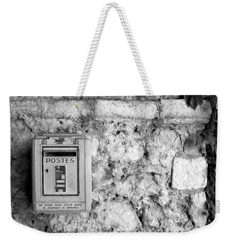 Eze Weekender Tote Bag featuring the photograph Postes In Black And White by Katie Beougher