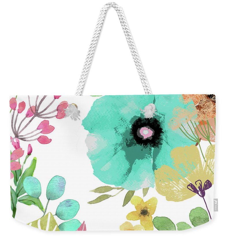 Poppies Weekender Tote Bag featuring the painting Posy II by Mindy Sommers