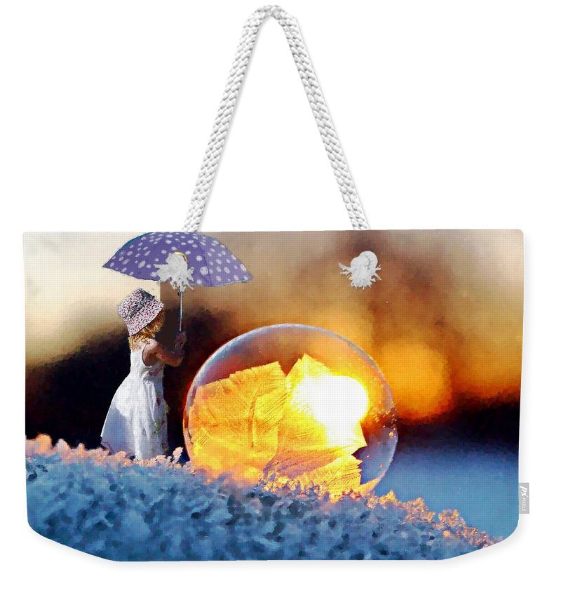 Girl Weekender Tote Bag featuring the painting Girl With Umbrella by MS Fineart Creations