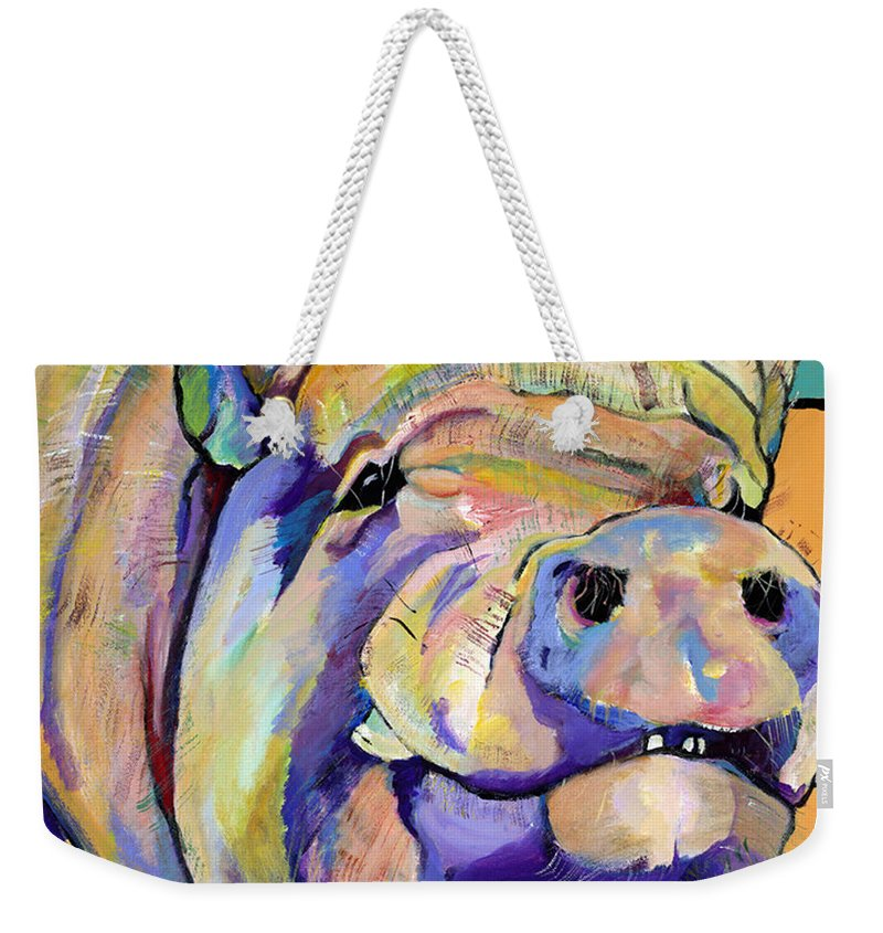 Pig Prints Weekender Tote Bag featuring the painting Potbelly by Pat Saunders-White