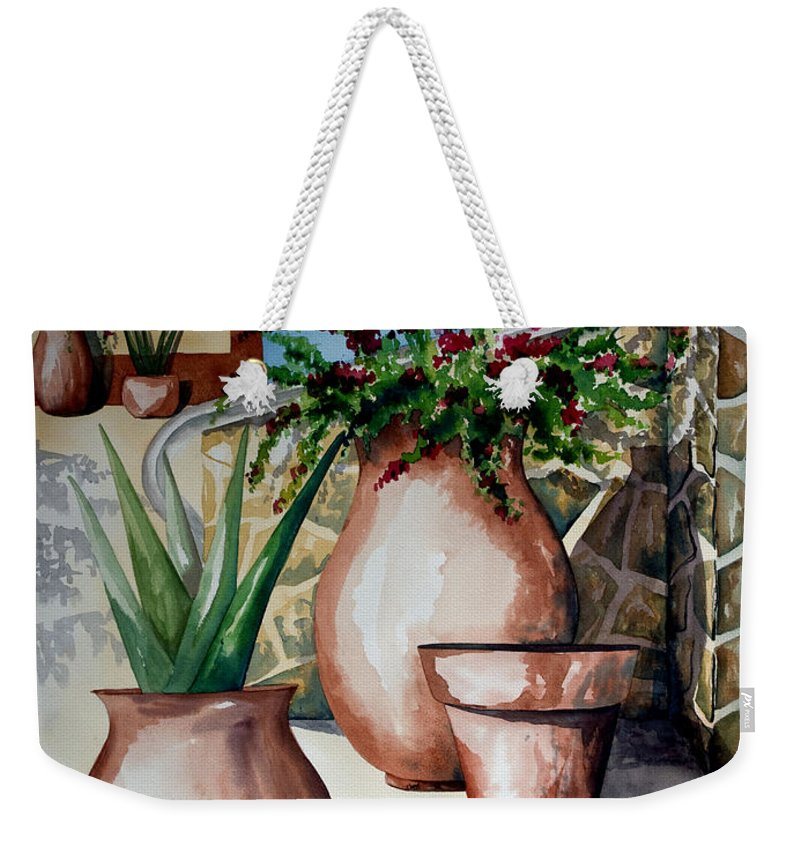 Floral Painting Weekender Tote Bag featuring the painting Pots And Bougainvillea by Kandyce Waltensperger