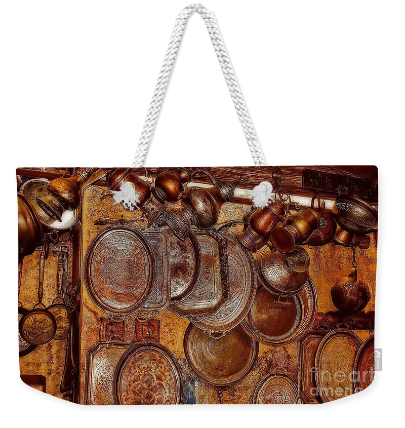 Pots Weekender Tote Bag featuring the photograph Pots And Pans Shop Or Is Jinni Home by Olga Hamilton