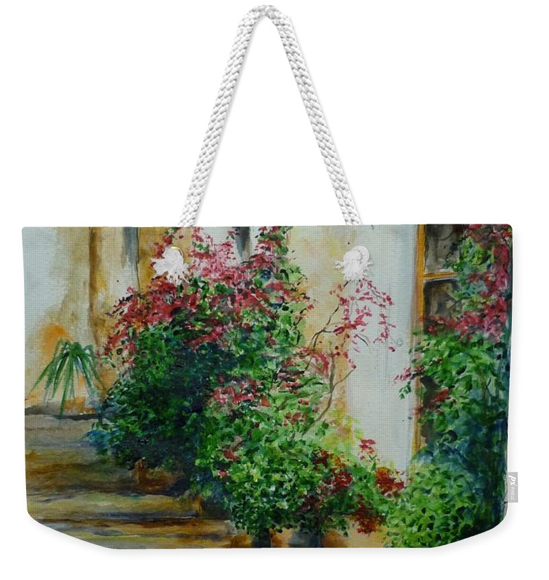 Earthenware Pots Weekender Tote Bag featuring the painting Pots And Plants by Lizzy Forrester