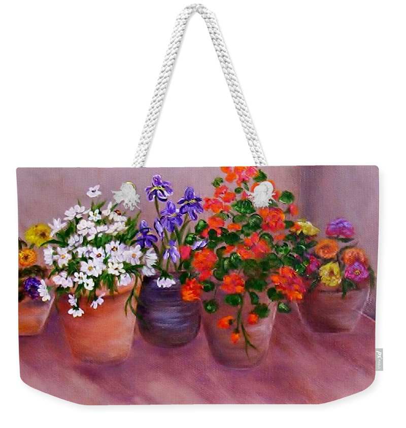 Flowers Weekender Tote Bag featuring the painting Pots Of Flowers by Jamie Frier