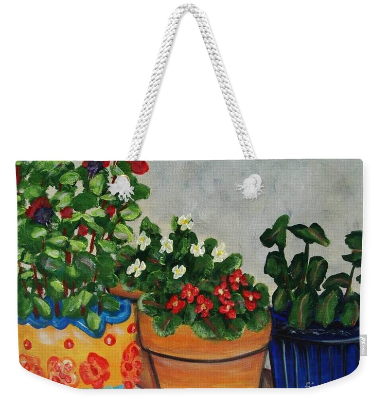 Ceramic Pots Weekender Tote Bag featuring the painting Pots Showing Off by Laurie Morgan