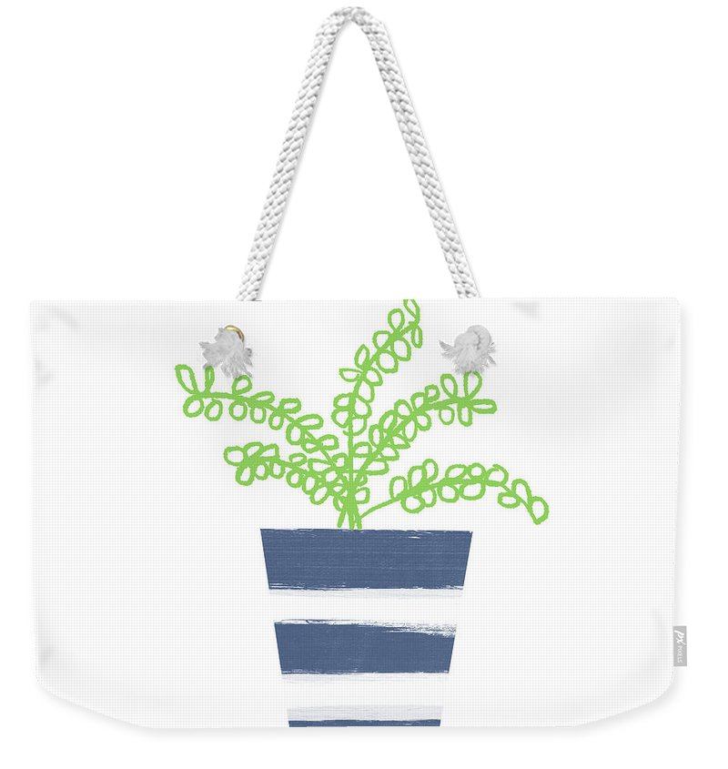 Plant Weekender Tote Bag featuring the mixed media Potted Plant 1- Art By Linda Woods by Linda Woods